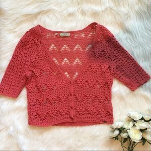 Coral Crochet Cropped Cardigan